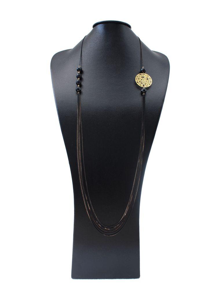 Nouvelle collection Sautoir multi rangs en agate noire et chaine noire dorée : Collier par auclealie