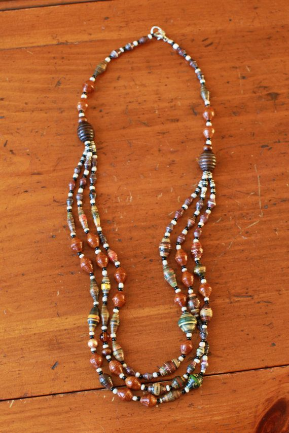 Rocky Path Necklace Paper Beads to Benefit by TheSparrowFund