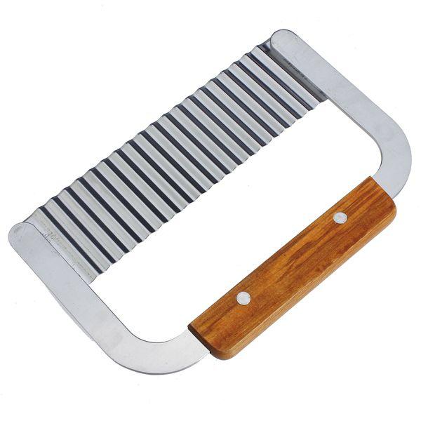 Potato Chip Chopper Wavy Crinkle Cutter Slicer Blade Wooden Handle
