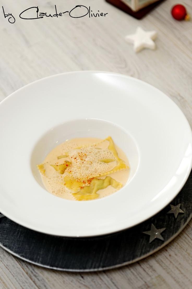 Ravioles au foie gras et figues, crème au Rooibos et vanille