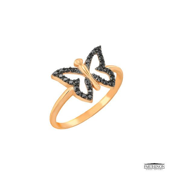 Butterfly Chevalier Ring in 14k solid by ParthenonGreekJewels