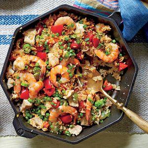 Scrumptious Shrimp Recipes | Skillet Rice with Shrimp and Chicken  | MyRecipes.com