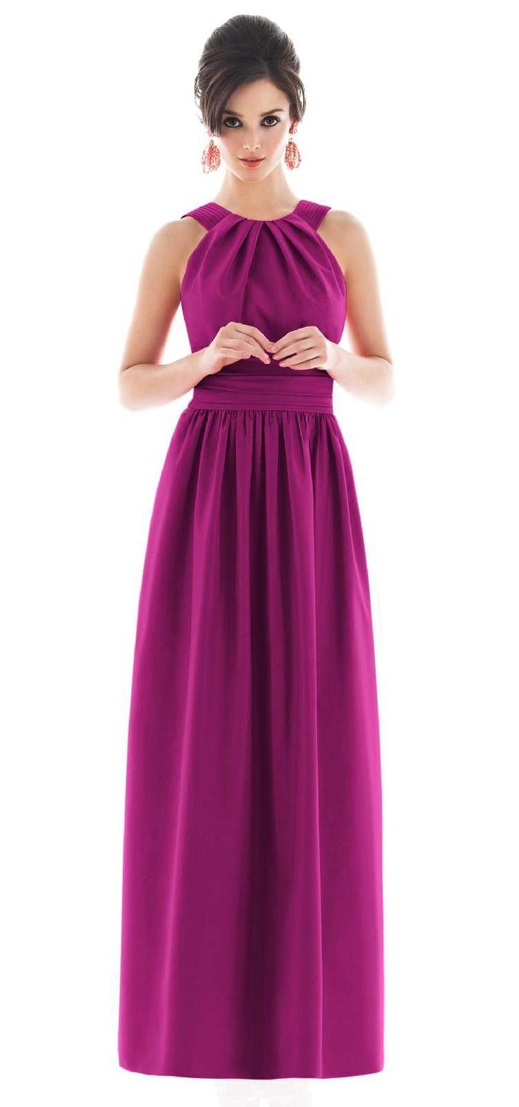 Alfred Sung Floor Length Magenta Bridesmaid Dress, STYLE D493, 625 Watermelon, via Weddington Way