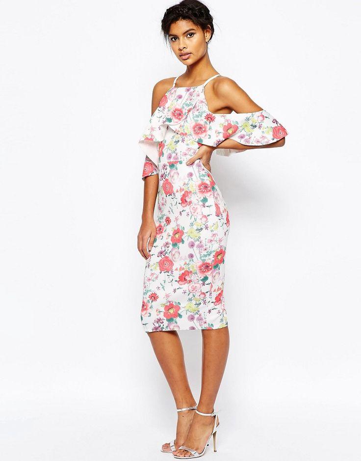 Image 1 ofASOS High Neck Cold Shoulder Floral Scuba Dress