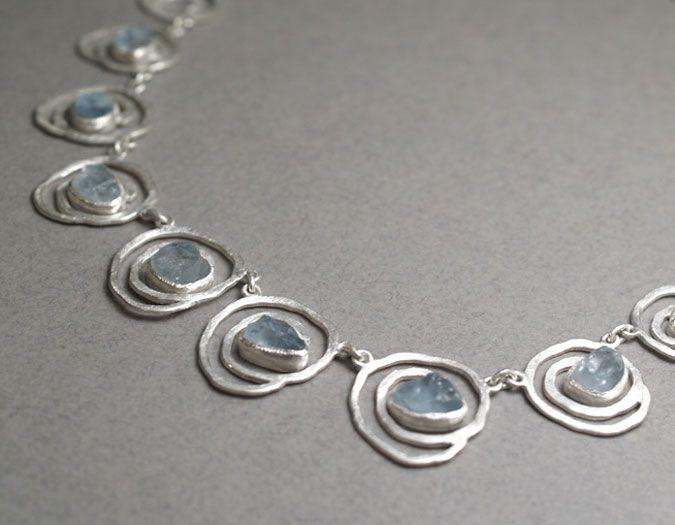 QUOIL Artists - Contemporary Jewellery Gallery Alison Blain Roses are Blue necklace. Uncut aquamarine, st silvr 45cm long, largest element 20 x 25 $915NZ