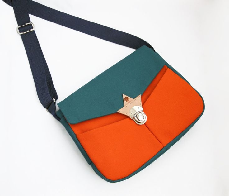jiyoh canvas shoulder bag  cyan x orange