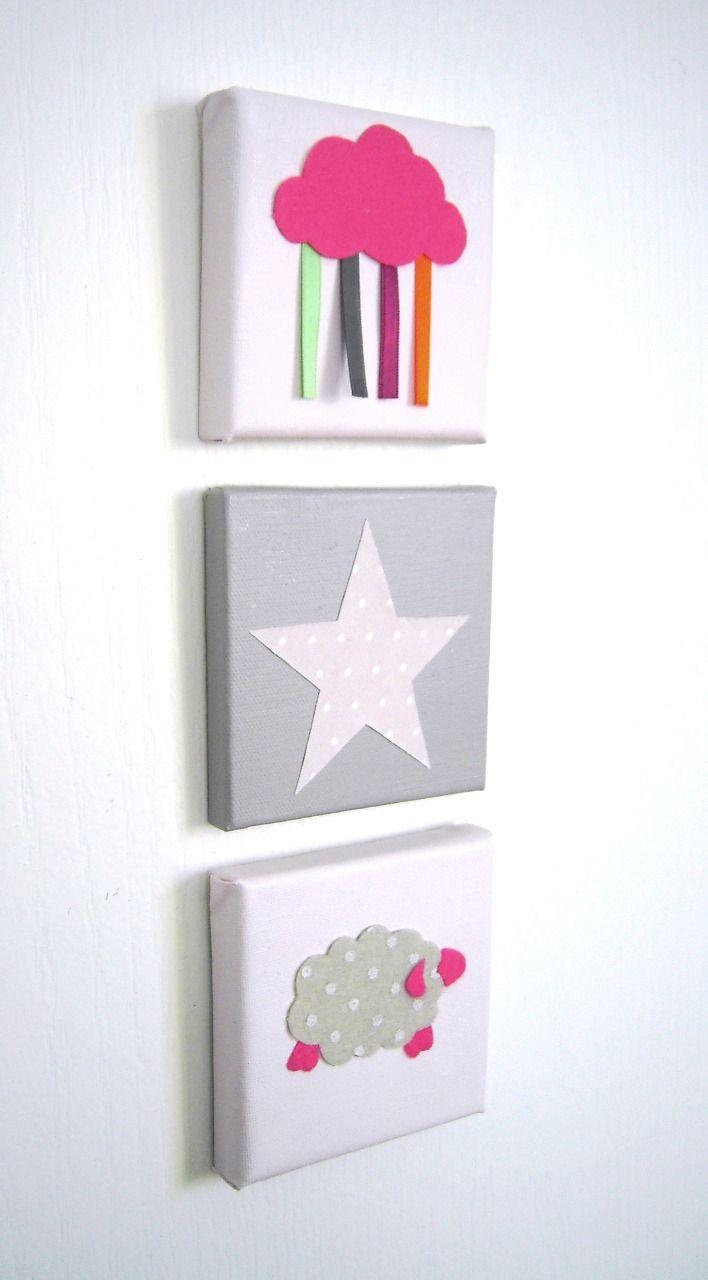 Tableau chambre bébé, étoile, nuage rainbow, mouton, cadeau de naissance : Décoration pour enfants par fees-et-rires