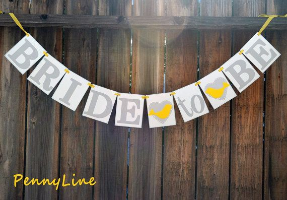 Grey And Yellow - Bridal Shower Banner Sign Garland, Wall, Table Decoration, Vintage Look, Wedding - Love Birds Hearts - By PennyLine