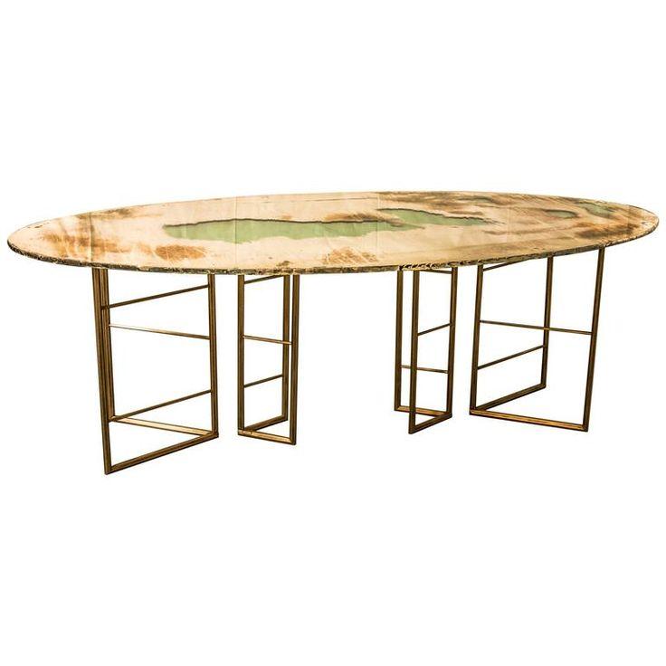 Fly Dining Room Table Brass Legs Diamond Cut Glass Top Silvering Sabrina  Landini