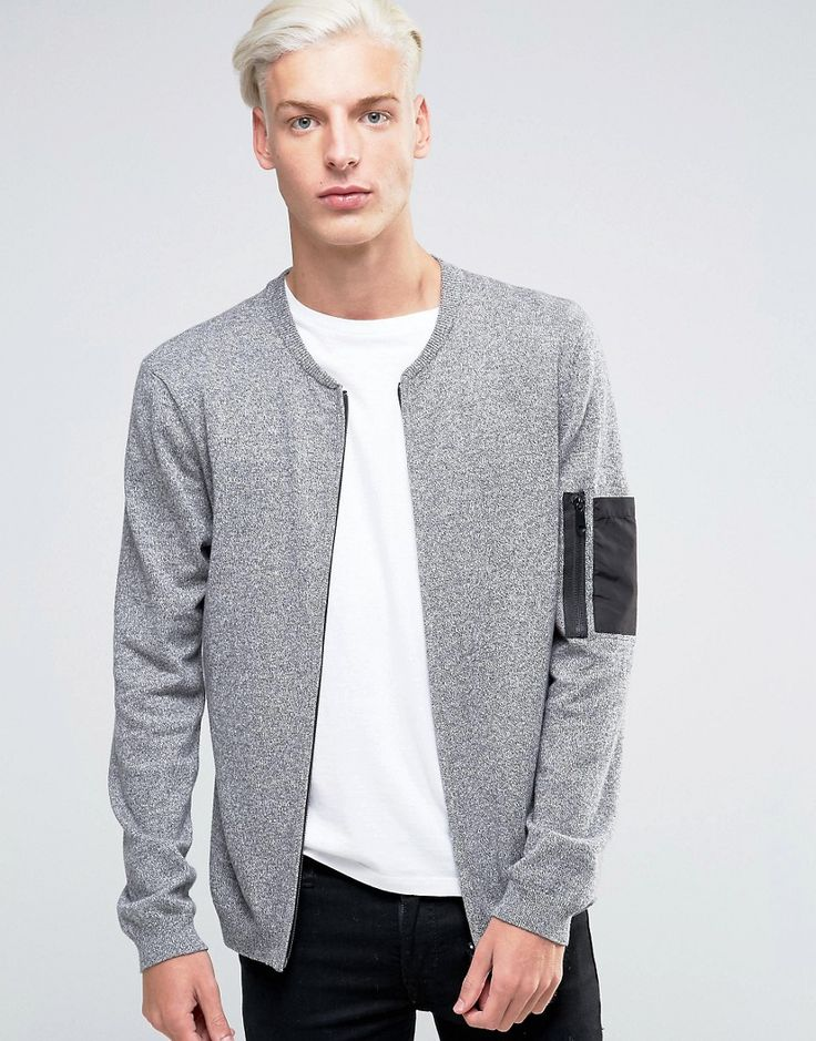 Knitted Bomber with Military Pocket Styling
