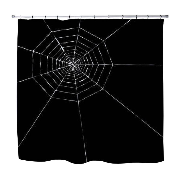 Black Spider Web Halloween Shower Curtain from Kids Bedding Company