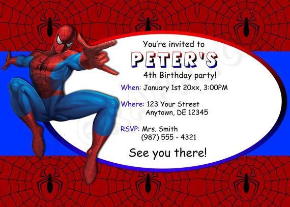 Spiderman Birthday Invitation Printable Etsy