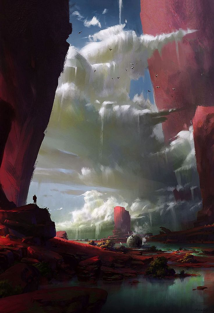 fantasy-art-engine: Red Cliff Clouds by Ruxing Gao