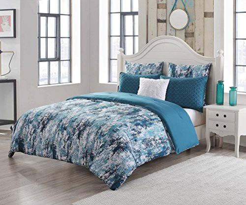 Park Avenue Collection Staas 6Pc Oversize/Overfilled King Comforter Set /Under Water Teal
