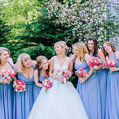 Spring Periwinkle Periwinkle is an unexpected and fun bridesmaid dress color choice—we love it paired with these bright pink peony bouquets!   SouthernWeddings.com: Pink Peony Virginia Wedding Photo: Rachel May