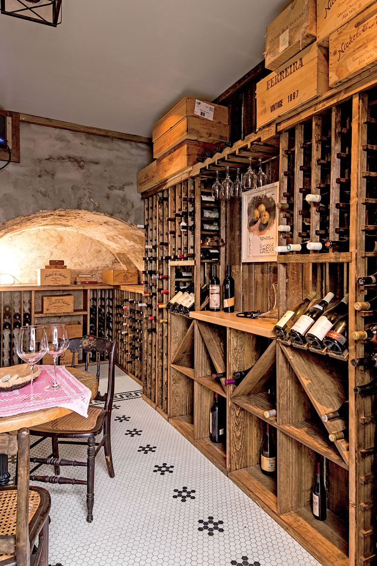 Wine Cellar with Wood Shelves
