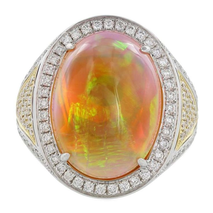 12.36 Carat Opal Diamond Two Color Gold Ring | From a unique collection of vintage more rings at https://www.1stdibs.com/jewelry/rings/more-rings/