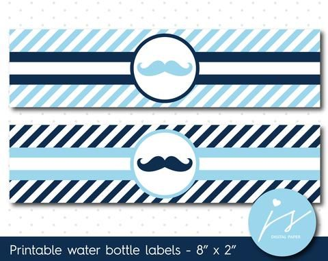 Baby blue and navy blue mustache water bottle labels with stripes, WA-87