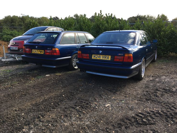 Sister Ships - M362 FWV BMW E34 M5 Touring owned since 2006.  M241 VRA BMW E34 M5 Saloon recently purchased. Both 1995 'M' 6 speed Nurburgring Avus Blue E34 M5s.  Find another pair like this!?