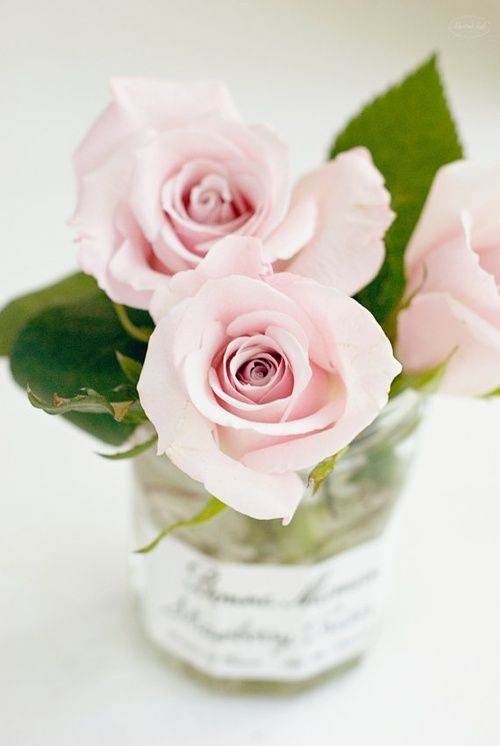 [ ROSES ] by All Things Shabby + Beautiful So loving the recycling of the Bonne Maman Jam Jar! Tres cute!  #pinkroses #floral #recycling