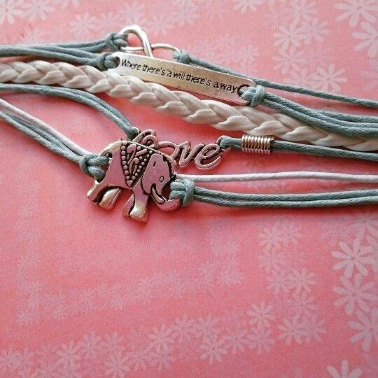 Turkooizen armband met olifant 2,95