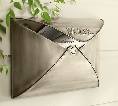 """Envelope Mailbox... it comes in bronze too! LOVE 16"""" wide x 5"""" deep x 11.5"""" high"""