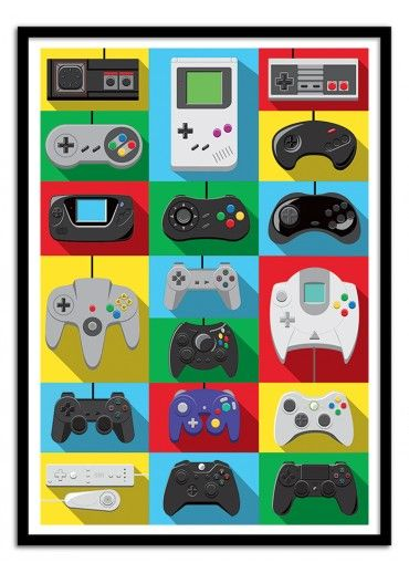 Art-Poster Wall Editions : Video game Controlers Tribute, by Olivier. Format…