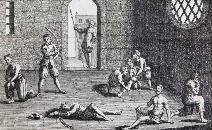 """NPR: No Innocent Spice -- This copper engraving from approximately 1700 depicts the condition of the English prisoners at the hands of the Dutch. In the 1660s, Cornell University's Eric Tagliacozzo says, the conflict and competition for the spice trade came to a head. """"The Dutch decapitated a number of English merchants who were also in the Spice Islands trying to profit from the trade."""""""