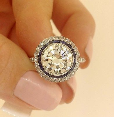 theory clothing outlet online Antique Art Deco Diamond 3 02Ct Platinum Engagement Ring   eBay