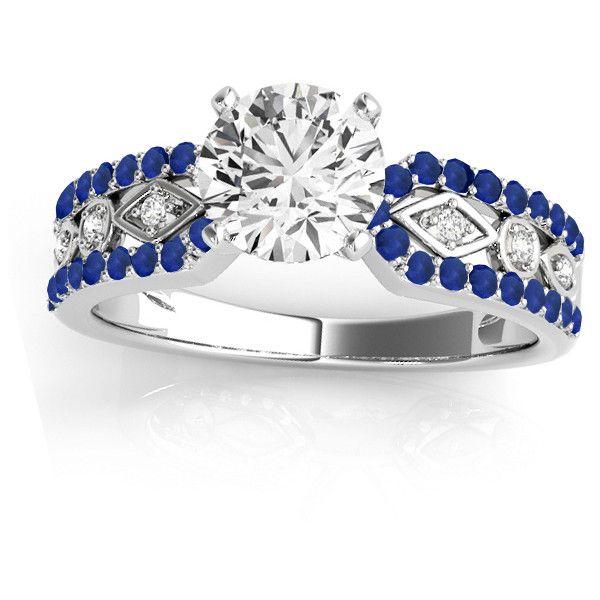 Allurez Diamond & Sapphire Engagement Ring Setting 14k White Gold... ($1,230) ❤ liked on Polyvore featuring jewelry, rings, round engagement rings, circle diamond ring, circle engagement rings, 14k diamond ring and round diamond ring