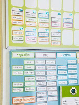 """Pour composer ses menus : tout ce qu'on peut manger, trié par catégorie, identifié par différentes couleurs... En un clin d'œil, facile de vérifier grâce aux couleurs qu'on prévoit les aliments """"nécessaires"""" chaque jour (légumes, céréales, légumineuses) et pas trop de viande/poisson sur la semaine ! :D"""