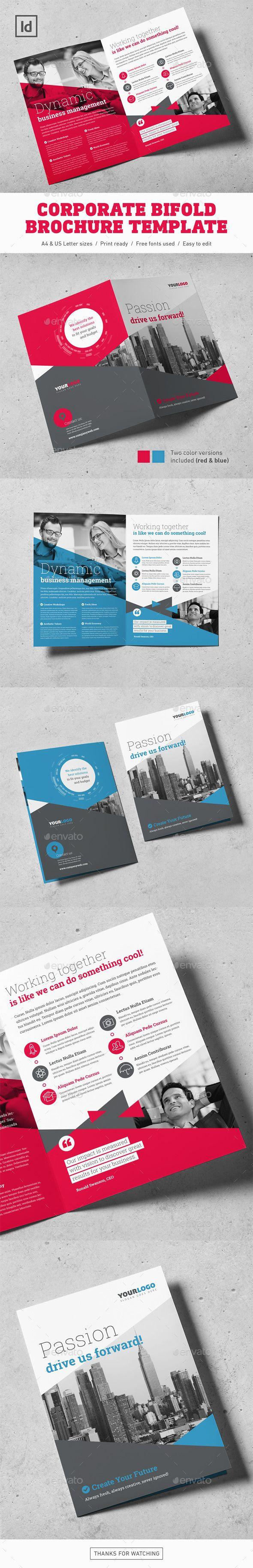 Corporate Bifold Brochure Template — InDesign INDD #8.5x11 #bi fold • Downlo...