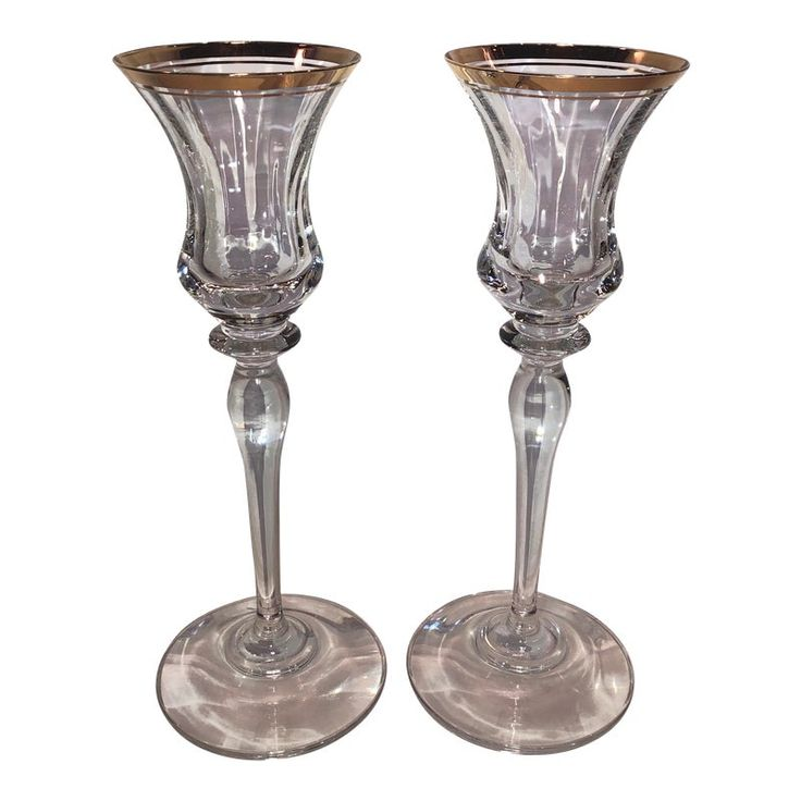 Vintage Mikasa Jamestown Clear Gold Trim Crystal Candle Holders – a Pair