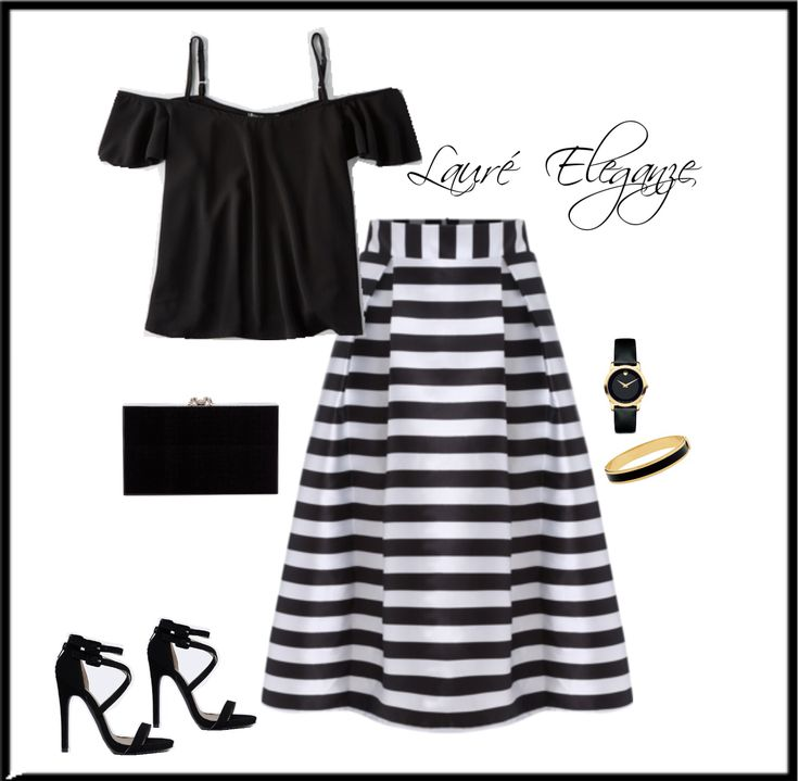Striped B&W Midi Skirt- Available Lauré Eleganze