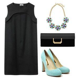 Голубые туфли под черное платье