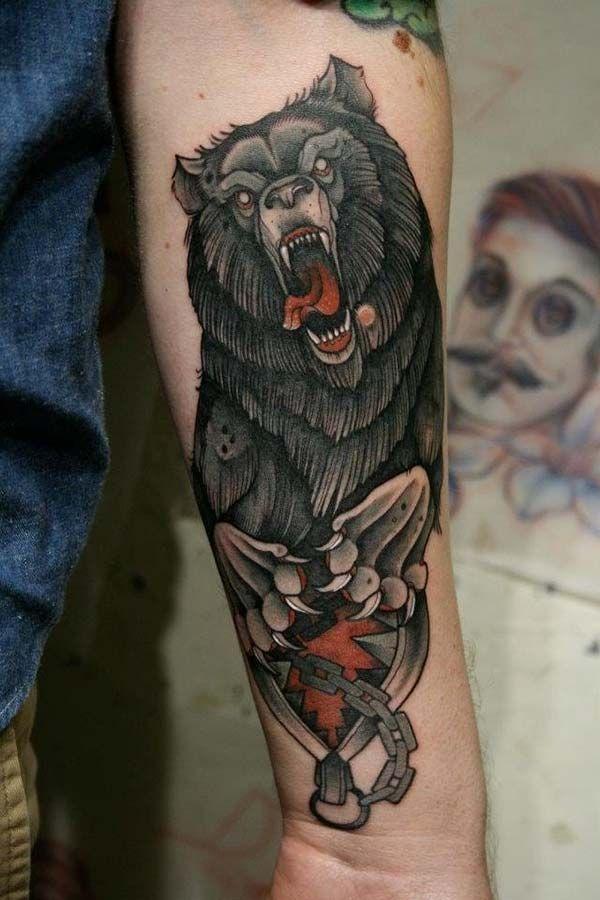 siyah ayı kol dövmesi