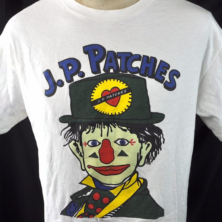 J.P. JP Patches Clown Glow In The Dark Vtg L Mens T-Shirt Large KIRO Seattle #Hanes #GraphicTee