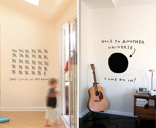Hole to another universe... cute!Wall Art, Wall Decor, Creative Wall, Wall Decals, Fun Stuff, Dan Golden, Wall Stickers, Boys Room, Home Offices
