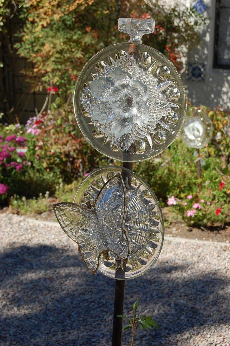 beautiful glass yard art upcycled art pinterest