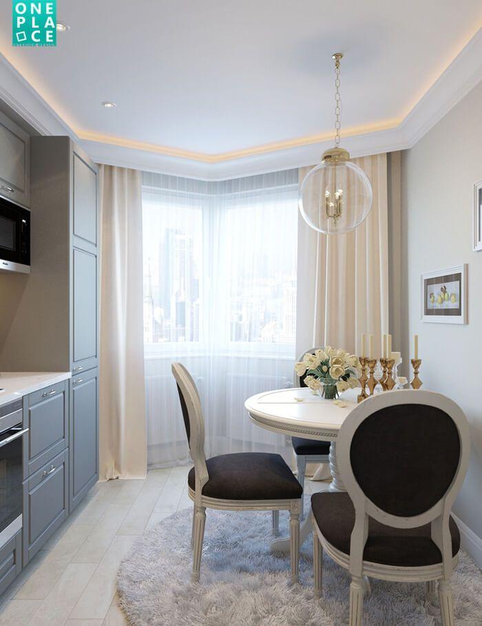 Проект небольшой, но очень светлой и красивой кухни в неоклассическом стиле отот краснодарской дизайн-студии OnePlace.