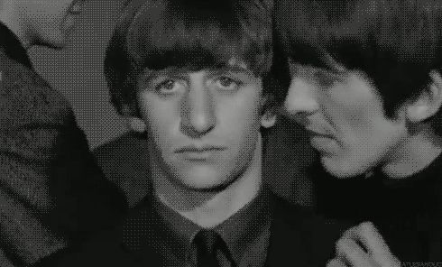 The Beatles in A Hard Day's Night :) That Ringo being carried away GIF was my favorite. B&D design color, contrast & clot