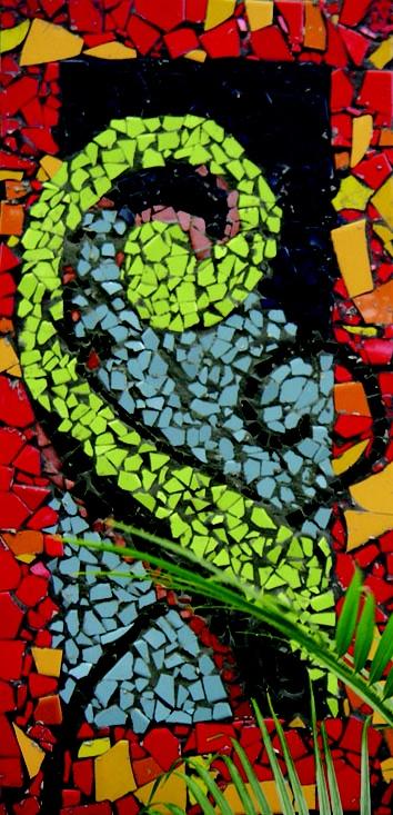 Auckland NZ Pt Chevalier School kids art! : Smash tile mosaic PIKO PIKO house