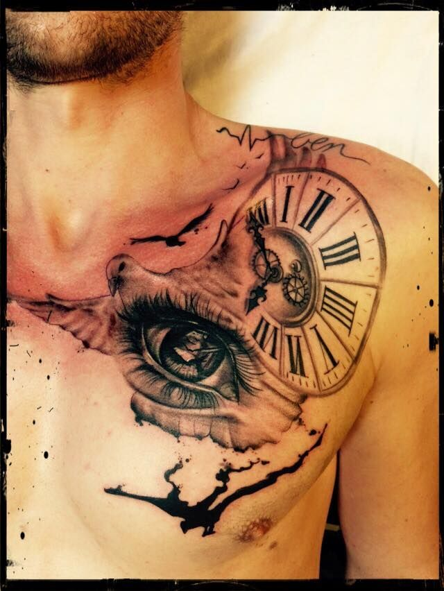 pigeon eye watch clock raven insplash illusion @ tattoofellas by sarah