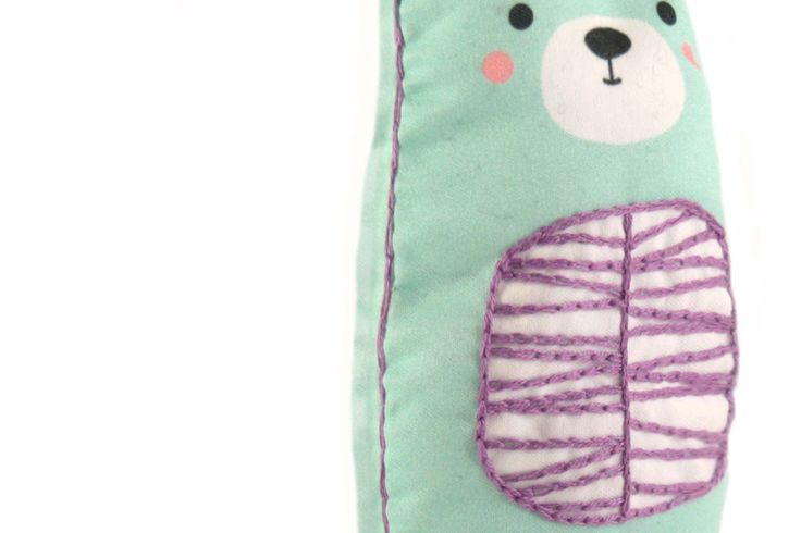 BEAR DIY embroidery kit - contains all tools: digital printed fabric, needles, stuffing, instruction, embroidery threads, embroidery hoop, scissors. The result is a loveable cute toy. #diy #embroidery #kit #bear #sew #cute #decoration #toy #kids #craft