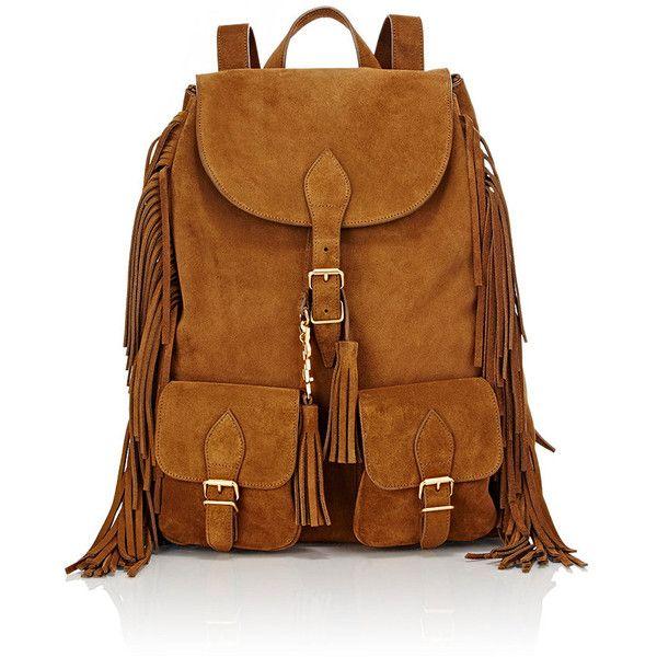 Saint Laurent Festival Backpack ($1,990) ❤ liked on Polyvore featuring bags, backpacks, orange, orange bag, drawstring bag, brown fringe bag, handle bag and yves saint laurent bags