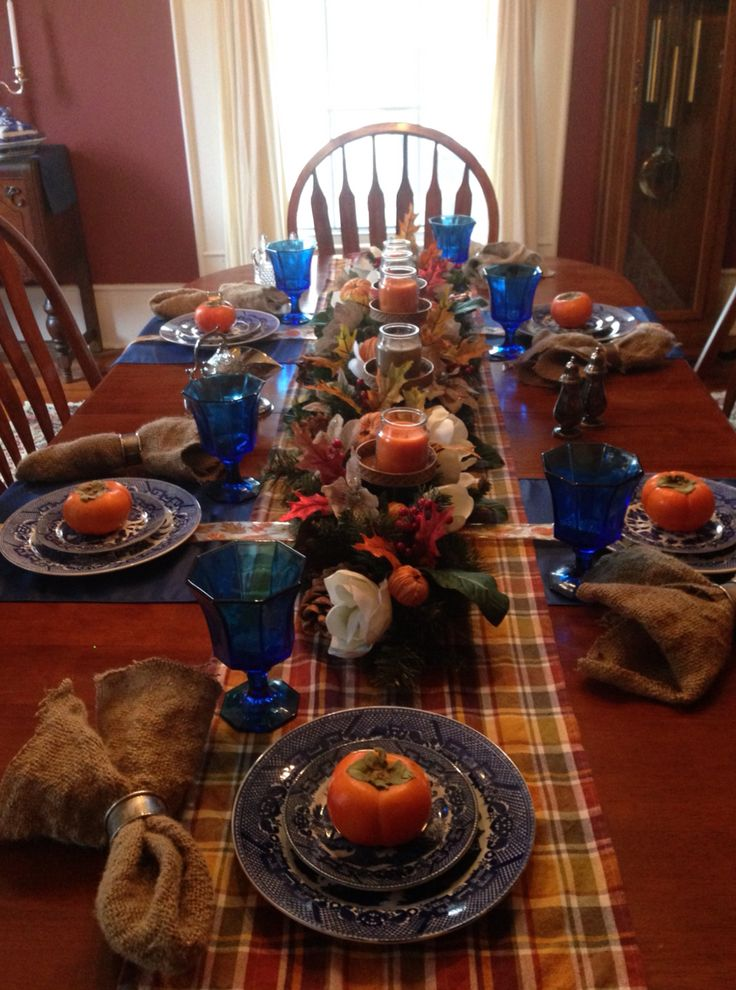 Red Centerpieces For Kitchen Table : Ideas about blue willow decor on pinterest cherry