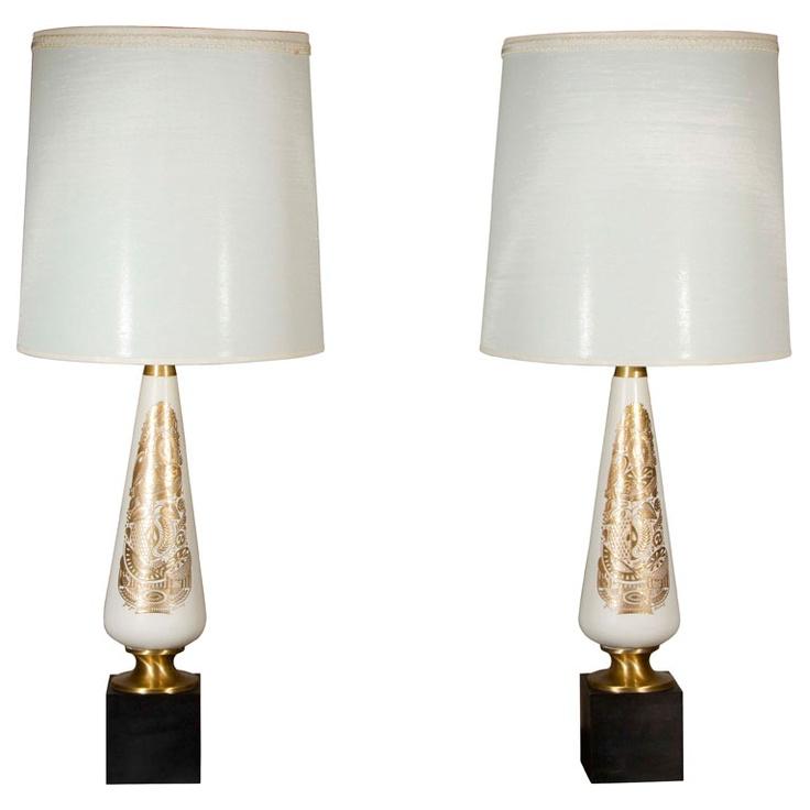Pair of ceramic georges briard table lamps