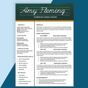 Teacher Resume Template for MS Word, Elementary CV Templat