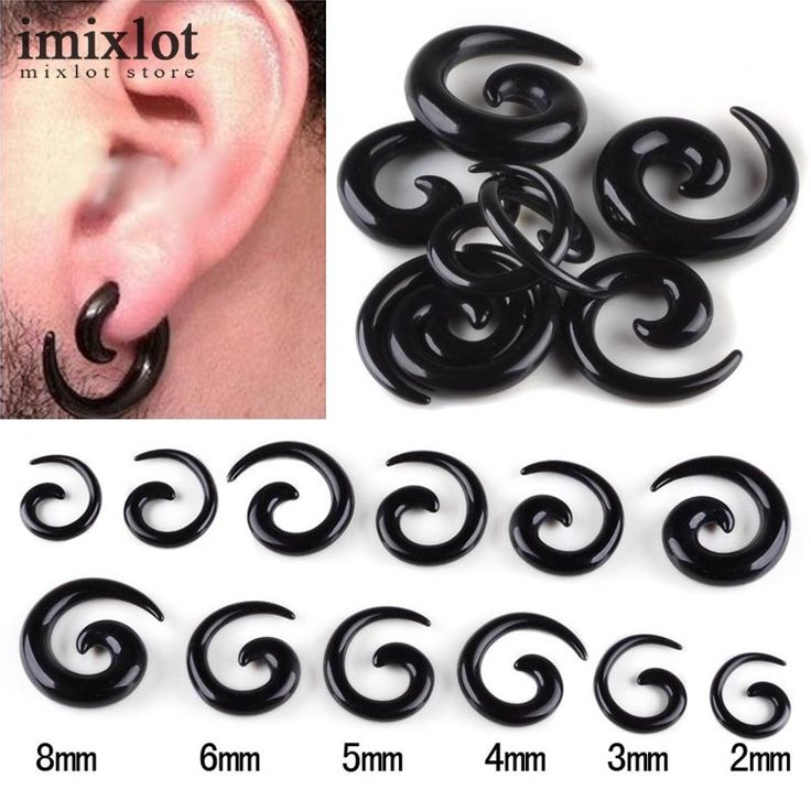 Wholesales 6pairs=12pcs Black Acrylic Spiral Ear Gauges Large Size Ear Tapers Stretching Plugs Expanders Pircing Jewelry