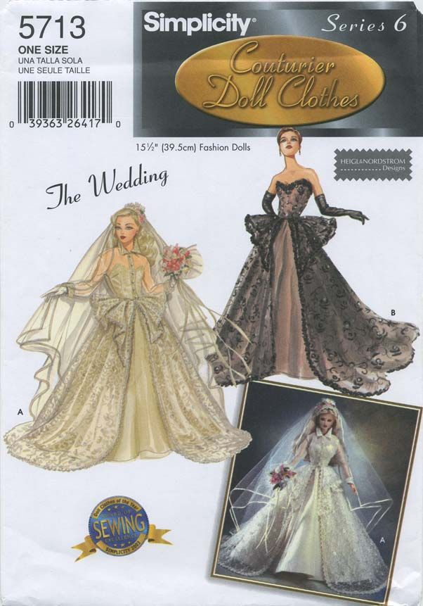 "Retro Vintage Doll Clothes Sewing Pattern | Simplicity 5713 | Year 2003 | Series 6 Couturier Doll Clothes for 15½"" Fashion Doll (such as Gene) 